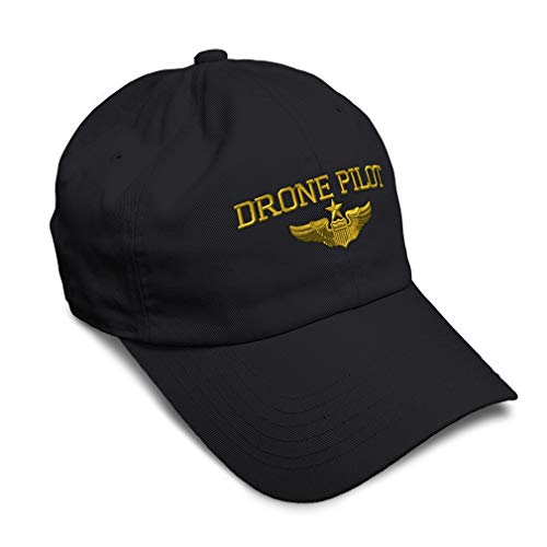 Soft Baseball Cap Drone Pilot Gold Embroidery Twill Cotton Dad Hats for Men & Women Buckle Closure Black