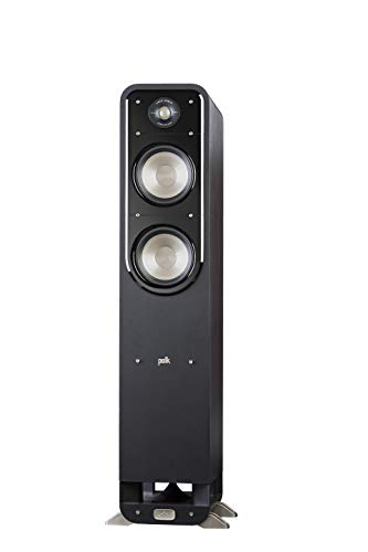 Polk Signature Series S55 Floor Standing Speaker - American HiFi Surround Sound for TV, Music, and Movies | Stylish Looks, Big Sound | Bi-wire and Bi-amp | Detachable Magnetic Grille Included, Black