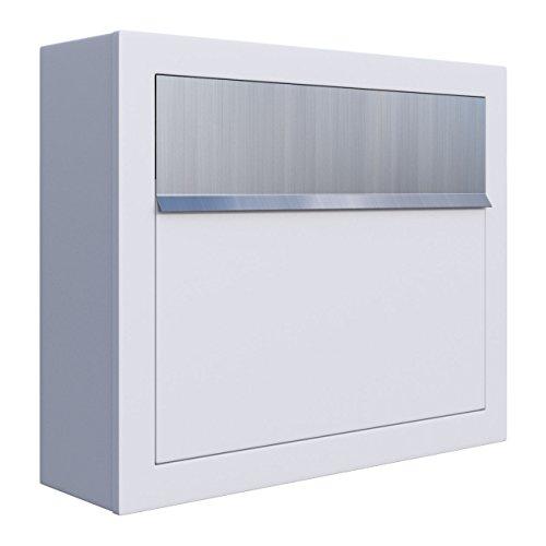 Briefkasten, Design Wandbriefkasten Elegance Weiß/Edelstahl - Bravios