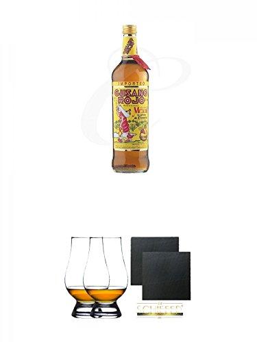 Gusano Rojo Mezcal mit Wurm in der Flasche 0,7 Liter + The Glencairn Glas Stölzle 2 Stück + Schiefer Glasuntersetzer eckig ca. 9,5 cm Ø 2 Stück