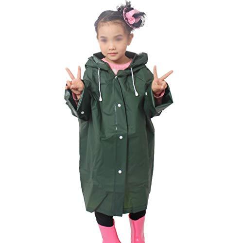 Regenbekleidung EVA-Kinder transparent mit Kapuze einteiliger langer atmungsaktiver Regenmantel, Jungen und Mädchen Kindergarten 1-10 Jahre alt Poncho 100% wasserdichter dünner Abschnitt mit Tasche EV