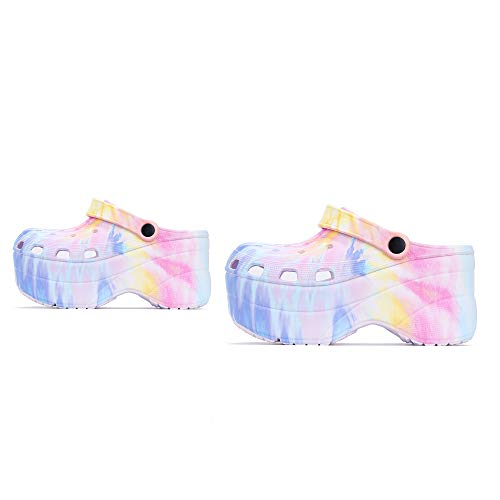 Cape Robbin Gardener Platform Clogs Slippers for Women, Women's Fashion Comfortable Slip On Slides Shoes - Pastel Tie-Dye Size 10