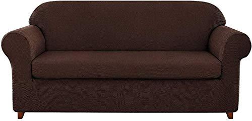 ZHTT Funda de sofá de Jacquard granulado de 2 Piezas Funda de sillón de Spandex de Alta Elasticidad Protector de Muebles de Moda, Cojín elástico Reutilizable Funda de sofá