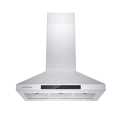 CIARRA CAS90831 36 inch Range Hood, 450 CFM Island Stove Vent Hood, Stainless Steel Hood with 3 Speed Exhaust Fan & Aluminum Mesh Filters, Ducted/Ductless Convertible, Touch Control