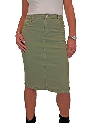 icecoolfashion Falda De Jeans De Color por Debajo De La Rodilla para Mujer con Estiramiento Verde Oliva 38-48 (40)