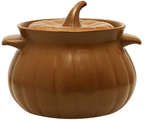 MJMJ Kasserolle Ceramic Casserole Pot Kochtopf - Pumpkin Pot Ceramic Soup Casserole Commercial Open Flame Hochtemperatur-Suppentopf Stew Pot Casserole Auflaufform(Size:4.6L)