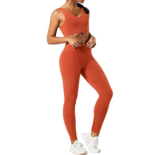 Women 2 PCS Workout Set Seamless Super Soft Material Deep V Neck Bra+Leggings Sports Suit Yoga Outfits (Burnt Orange, M)