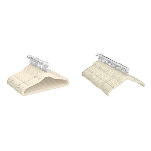AmazonBasics - Gruccia in velluto con portapantaloni, 50 pezzi, Avorio & - Gruccia in velluto per abiti e camicie, 100 pezzi, Avorio