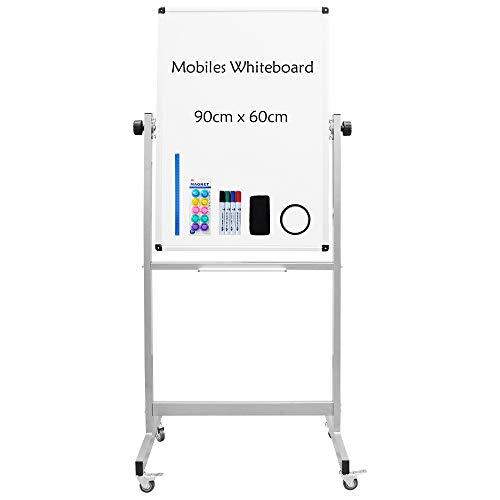 XIWODE Pizarra blanca portátil de doble cara con soporte, pizarra magnética con marco de aluminio, 90 x 60 cm