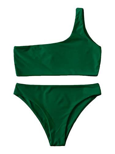 SweatyRocks Women's Sexy Bathing Suits One Shoulder Tie Knot Front Bikini Swimsuit Dark Green L