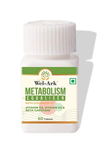 Wel-Ark Metabolism Equaliser for Natural Weight Gain for Men and Women with Vitamin D3, K2 and Beta-Carotene (60 Tablets) Veg. (Pack of 1)