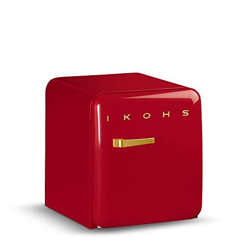 IKOHS Retro Fridge GOLD- Frigorífico con diseño, Control de Temperatura Ajustable, Estética Vintage de los años 50, Clase Energética A+ (Rojo, 50 cm)