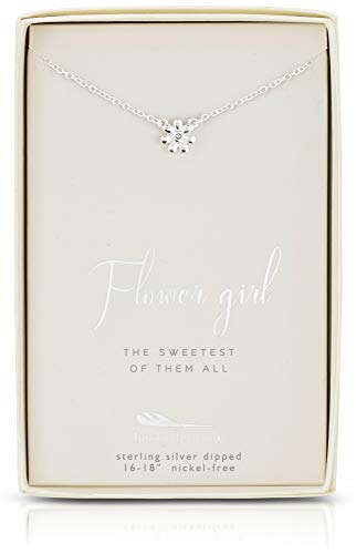 Lucky Feather Flower Girl Gifts - Flower Girl Necklace in Sterling Silver with Crystal Accent Stone and Adjustable Chain
