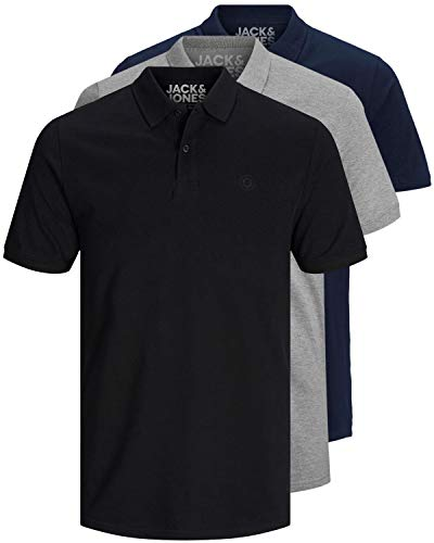 JACK & JONES 3er Pack Herren Poloshirt Slim Fit Kurzarm schwarz weiß blau grau XS S M L XL XXL 12171776 (L, 3er Pack Farb Mix 4)