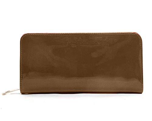 Treend24 dames lak portemonnee met 2 hoofdvakken ritssluiting glanzend portemonnee geld tas portemonnee brief tas rood zwart grijs wet look