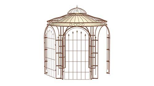 ELEO Milano wunderschöner Gartenpavillon Winterfest mit 2 x Rankgitter Edera I Stabiler Rundpavillon Roh Edelrost Ø 2,9 m I Stabiler Pavillon für Garten aus Schmiedeeisen mit Sonnensegeln