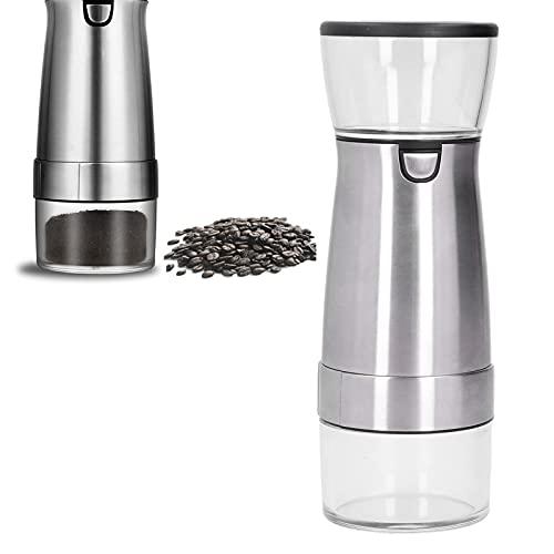 Juego de molinillo eléctrico de sal y pimienta, molinillo eléctrico de cerámica de acero inoxidable para especias para café y nueces