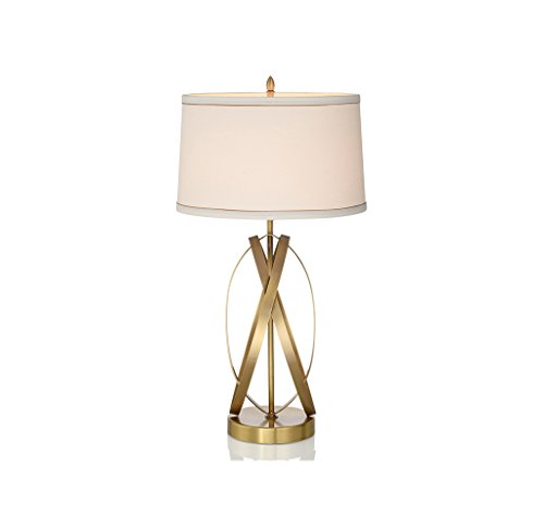 Dormitorio Mesilla de luz grande y moderna Lámpara de mesa Estilo americano Simple Base de cobre Lámpara de escritorio Modelo Habitación Sala de estar Estudio Hotel Decoración Escritorio Luz E27