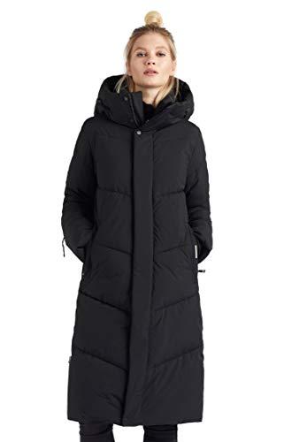 khujo Damen Mantel Torino Steppmantel lang warm Kapuze Reißverschlusstaschen