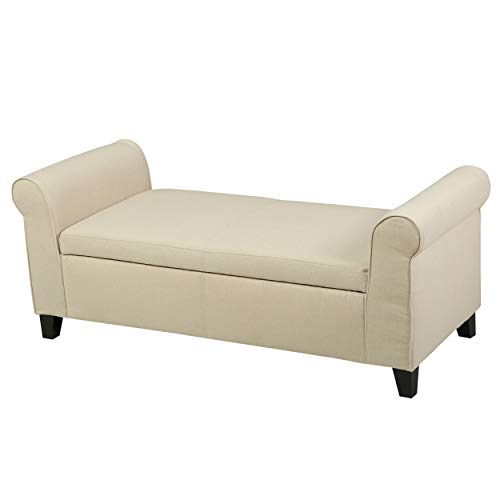 Christopher Knight Home Danbury Armed Fabric Storage Bench Beige