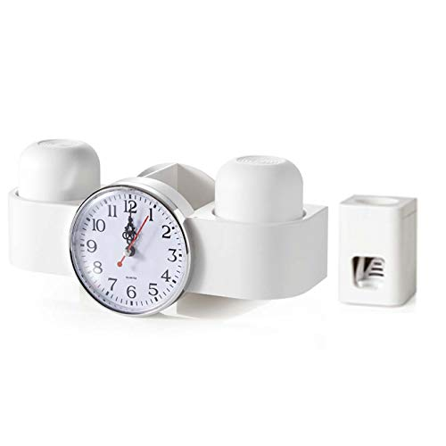 LMJ Toothbrush Holders Toothbrush Holder With clock Multifunctional Wall-Mounted Toothpaste Squeezer Kit,4 Toothbrush Slots, 1 Automatic Toothpaste Dispenser and Cups Holders (Color : White)
