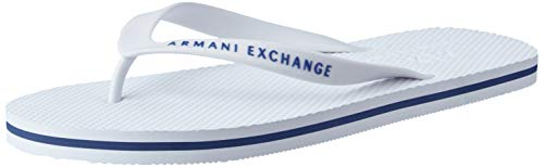 Armani Exchange Herren Flip Flop PVC+Eva Zehentrenner, Weiß (White 00001), 43 EU