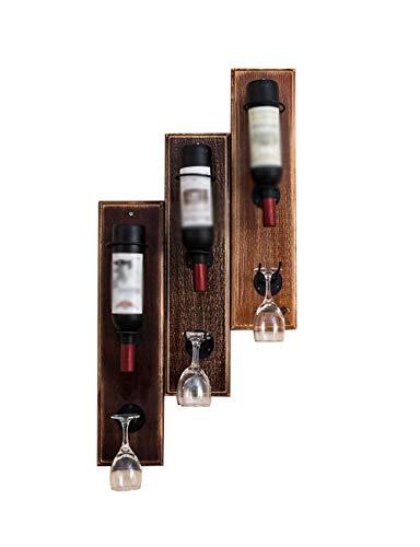 Accueil Outils de cuisine Gadgets Casier à vin mural en bois massif et porte-verre rétro en fer forgé combiné avec des accessoires de décoration en bois de pin pour la maison et le bar de cuisine
