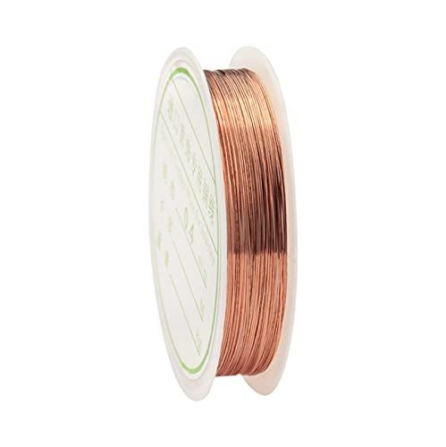HLH Alambre de cobre multicolor, cordón de joyería de alambre de abalorios para hacer manualidades de 0,3 mm/0,4 mm (color: oro rosa, tamaño: 0,4 mm 8 metros)