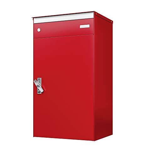 sbox 17 Briefkasten, Briefkasten mit gesichertem Paketschliessfach, einfache Selbstmontage, Hochwertiges Aluminium, 440x800x340mm, Handgefertigt (Feuerrot (RAL 3000))