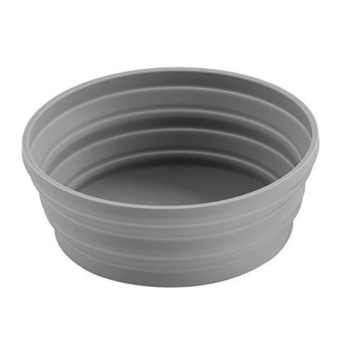 Ecoart Silicone Expandable Collapsible Bowl for Travel Camping Hiking (Gray(L))