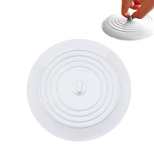 JeoPoom Tapón de Bañera Tapones de Drenaje de Silicona, Universal Tapones Fregadero 15 cm para Cocina, Baño y Lavaderos(Blanco)