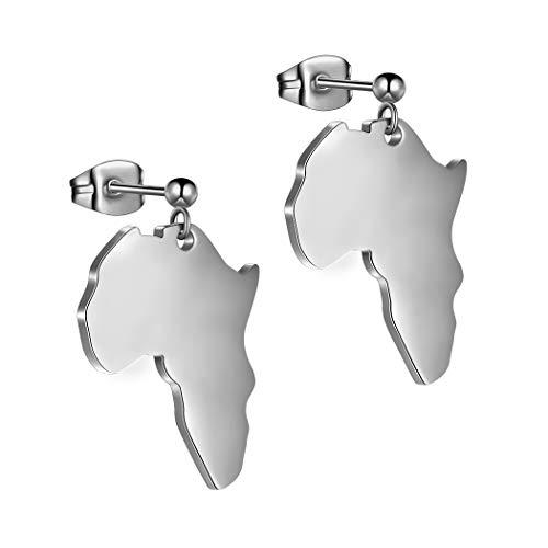African Map Dangle Earrings Men Women 316L Stainless Steel Africa Drop Earring Fahion Dainty Jewelry SE0015G