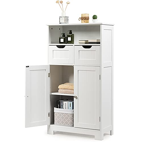 GLACER Multifunctional Floor Cabinet, Freestanding Bathroom Cabinet with Removable Drawers and Adjustable Shelf for Bathroom, Living Room, Bedroom or Entryway, 24 x 12 x 43 inches (White)