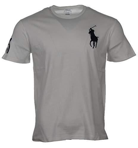 Ralph Lauren Herren T-Shirts mit Big Pony - Navy, Weiß, Grau, Pink, Hellblau, Pistazie (Weiß, XXL)