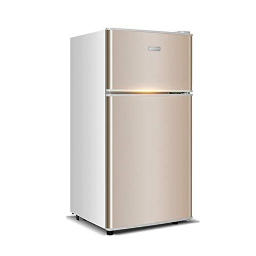 FRIDGE Kleiner Zweitüriger Kühlschrank | Haushaltskühlschrank | Theken-Kühlschrank | Niedrigenergie A + (118 L, Silber/Gold)