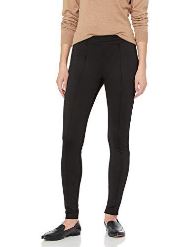 No Nonsense Women's Ponte Knit Pintuck Legging, Black, L