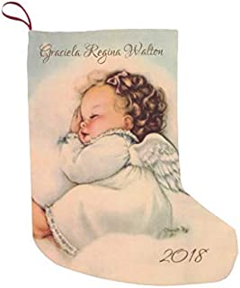 McC538arthy Personalized Christmas Stocking, Vintage Baby Angel Wings Sleeping in Cloud Small Velvet Custom Christmas Stocking Xmas Stocking Ornaments for Family Decorations