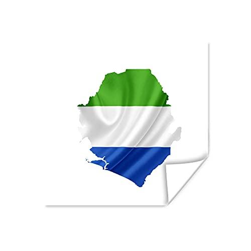Poster - Illustration der Flagge von Sierra Leone in der Form des Landes - 40x30 cm
