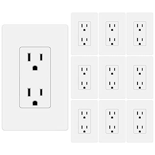 [10 Pack] BESTTEN 15A Decor Wall Receptacle, Standard Electrical Wall Outlet, Decorator Screwless Wallplate Included, UL Listed, White