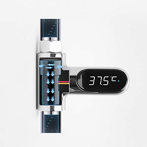 Godob LED Digital Thermometer Shower Celsius Bathroom Faucets 360 Rotate Real-Time Temperature Monitor Water Monitor for Kids