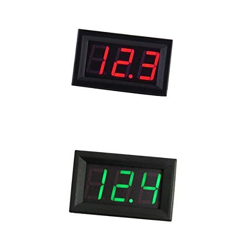 perfk 2x 3 Hilos Pantalla Digital Voltímetro Medidor de Voltaje Voltímetro Coche Motor Verde + Rojo
