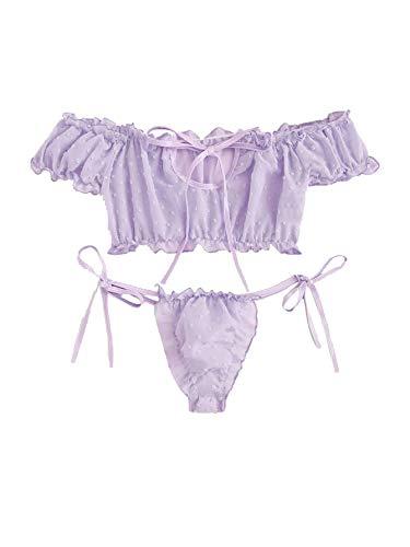SheIn Women's Self Tie Ruffle Trim Dobby Mesh Lingerie Set Sexy Bra and Panty Purple Medium