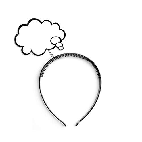 shoperama Haarreif mit Sprechblase oder Denkblase Comic Redewolke Karneval Verkleidung Kostüm-Zubehör Popart Accessoire:Denkblase