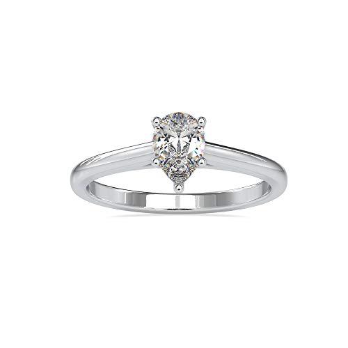 Diamondrensu 925 sterling zilveren peer moissanite solitaire verlovingsring 0,53 CT peer geslepen trouwring voor vrouwen…