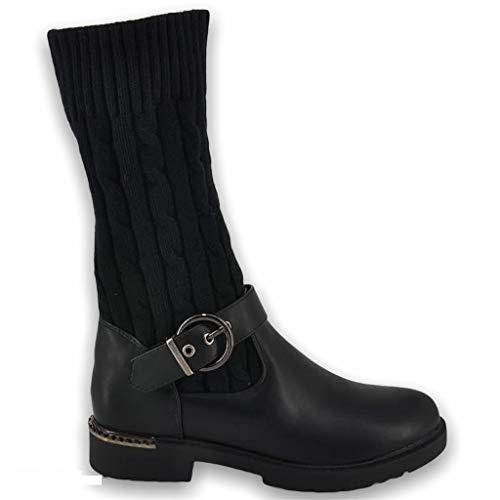 Queentina Damen Stiefel Strick Boots Stiefeletten Schlupf Stulpen ST125 (Schwarz, Numeric_39)