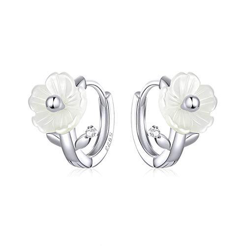 Pendientes de flores puras de plata esterlina 925 para mujeres limpias pétalos blancos bloom pendientes joyería