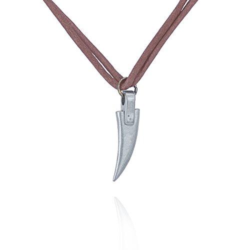 PAPAYANA A253 Coole Herren-Halskette aus Leder mit 'Hai-Zahn'-Anhänger Surferkette ca.52cm lang Surfer Beach Strand