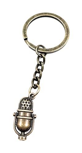 """Onwomania - \""""Mikrofon Mic Studio Ton Schlüsselanhänger - Metall Glücksbringer ideal als Geschenk z.B. für den besten Freund, die beste Freundin, Mama - Für Männer, Frauen & Kinder"""