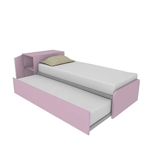 964RK Cama con cabecero contenedor y segunda cama extraíble independiente y elevable para formar una cama de matrimonio, contenedor y somieres incluidos, personalizable fabricada en Italia (CI