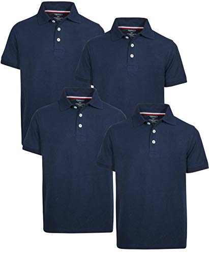 French Toast Boys Short Sleeve Uniform Polo Shirt - 4 Pack, Navy, Size Large'